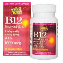 Natural Factors, B12 Methylcobalamin, 1000 mcg, 90 Stück kaubar